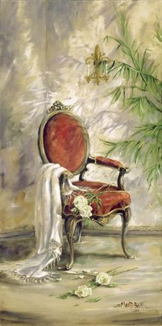 The Red Chair by Marty Bell 2008 - I have to find the artist's name but I love the fabric thrown over the arm and I like the velvet on the chair. S