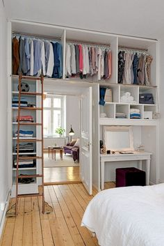What can you do if you have a small bedroom and you want to create a luxury feel? Well, small bedroom ideas can help. The reality is it is not easy to work with a small bedroom but we do… Continue Reading → Small Apartments, Small Spaces, Small Bedroom Designs, Design Bedroom, Closet Designs, Suites, Trendy Bedroom, Modern Bedroom, Minimalist Bedroom Small