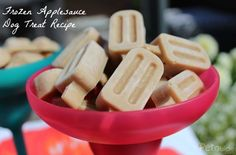 Frozen Applesauce Dog Treats- these look tasty and aren't hard to make! Puppy Treats, Diy Dog Treats, Homemade Dog Treats, Dog Treat Recipes, Healthy Dog Treats, Dog Food Recipes, Healthy Pets, Summer Dog Treats, Frozen Dog Treats