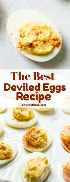 The Best Deviled Eggs #Recipe you\'ll ever make has a few secret ingredients like, vinegar, and paprika! These are the ONLY #deviledeggs we make now!