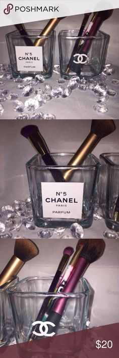"Chanel glass make up brush set  x2 Chanel glass makeup brush holder set  . White logo, & Chanel no 5 perfume. This listing is for 2 as pictured. Can also be used for jewelry, pens , candy , etc handmade , No brushes included , glass holder only .4""x3"" chanel Makeup Brushes & Tools"