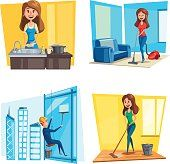 Domestic Cares Set Stock Illustration - Download Image Now - iStock Cleaning Business Cards, Social Media Ad, Washing Dishes, Free Vector Art, Feature Film, Flat Design, Photo Illustration, Image Now, Clean House