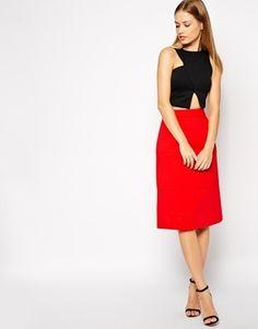ASOS A-line Skirt in Bonded Scuba - Red