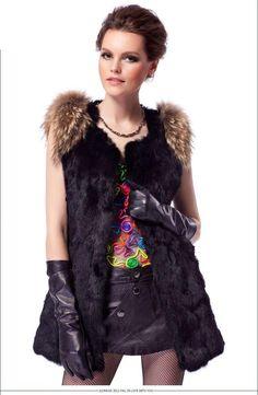 Genuine Rabbit Racoon Fur Hoodies Gilet