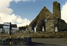 Aghagower ruined church and round tower, Castlebar, Co. Mayo  Apr 1989