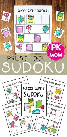 This fun hands-on Sudoku game is a great way to kick off your school year! Back to school sudoku features a variety of school supplies for children to sort into rows, columns, and squares. Great for building logic skills. Free Preschool, Preschool Themes, Preschool Printables, Preschool Worksheets, Preschool Learning, Online Classroom, School Classroom, Fun Activities For Preschoolers, Elderly Activities