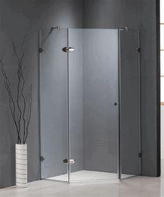 Frameless Neo-Angle Tempered Glass Corner Shower Enclosure.