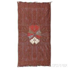 European Long Shawl, c. 1860, with eight-panel center, 11 ft. 1 in. x 5 ft. 5 in.     Provenance: The Arlene Cooper Collection.    Skinner Auctioneers Sale 2942T