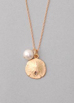 Saint Simons Sand Dollar Necklace- Pearl - Hermosa Jewelry Collier D oursin  Plat, eb3ea2753ec0