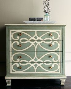 I really love this stenciled dresser and plan on coming out with more craft sized stencils for his type of project!    http://www.cuttingedgestencils.com/craft-furniture-stencils.html