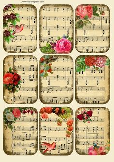 Penniwigs: Free Graphics, Printables, Paper Fun, Lore and More: Music Tags / Collage Sheet Free Printable Decoupage Vintage, Decoupage Paper, Vintage Paper Crafts, Sheet Music Crafts, Sheet Music Art, Music Paper, Music Sheets, Vintage Sheet Music, Holiday Images