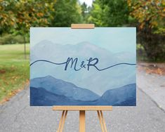 Mountain Wedding Guest Book Alternative / Hand Painted Guestbook Canvas / Unique Guest Book Idea / Personalized Mountain Painting  #blueridgemountains #mountainwedding #mountainbride #guestbook