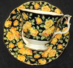ROYAL ALBERT ENGLAND MERRIE SERIES YELLOW ROSES CHINTZ BLACK TEA CUP AND SAUCER | eBay