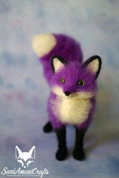 Purple fox by SaniAmaniCrafts Needle felted miniature #needlefelted #SaniAmaniCrafts #fantasyfox