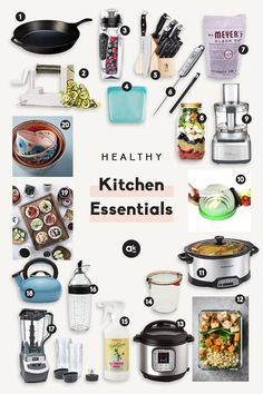 The Ultimate List of Healthy Kitchen Essentials A well-stocked kitchen is key for creating sustainable, healthy habits! These 20 healthy kitchen essentials are perfect for cooking, meal-prepping, and keeping your kitchen organized all week long. Kitchen Essentials List, Kitchen Necessities, Apartment Essentials, Kitchen Post, Kitchen Items, Long Kitchen, Kitchen Tools, Best Kitchen Gadgets, Kitchen Appliances