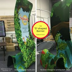 """No Extra Charge for printing both the front and back of our unique """"S"""" shaped stand-up Banner. This awesome Kids design by North Terrant Church in Fort Worth TX."""