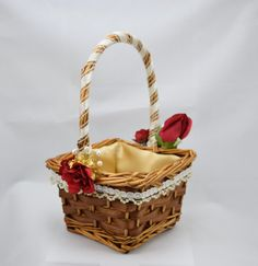 Rustic Wicker Flower Girl Basket Gold Rose by EnglishHomeCrafts