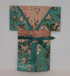 hand crafted card from My creative rumblings: Kimono Gift card ... luv the papers ... belly band obi ...
