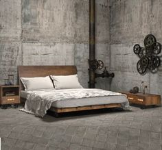 Perhaps you are planning to buy a new bed. Have you ever thought about platform bed? Platform bed gives an interesting and unique look to your bedroom. Browse from our unique selection of platform beds and shop today! Industrial Bedroom Furniture, Industrial Bedroom Design, Industrial House, Industrial Chic, Vintage Industrial, Furniture Decor, Wicker Furniture, Industrial Dresser, Furniture Design