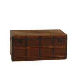 McDaniels Trunk at Found Vintage Rentals. Rustic brown wooden trunk, perfect as an accent piece or coffee table