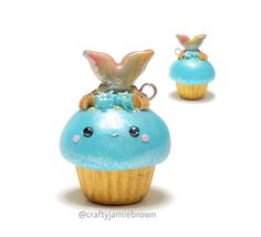 Hello and Happy Monday!  Here's a kawaii cupcake with a mermaid tail coming out. I love the colors on this one.  #polymerclay #polymerclaycharms #handmade #madebyme #uvresin #sculpey #premo #kawaii #cute #love #mermaid #magical #cupcakes #jewelry #art #clay #crafty #crafts #charms #miniature #miniaturesweethk #ocean #sea