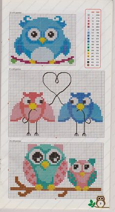 Owls perler bead pattern or cross stich