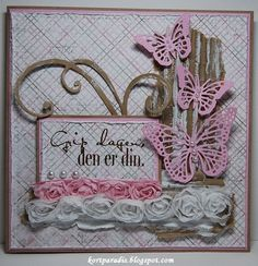 Gratulerer Congratulation North Star Design NSD Handmade Håndaget Scrapping Kortscrapping Jentekort Damekort Sommerfugler Butterflies