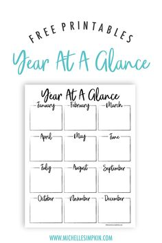 Free Printable - This Year At A Glance printable will help you plan and organize your year all on one sheet. You can use this free printable to plan all parts of your business or to keep track of everything going on in your life. Year At A Glance | Year Planner | Yearly Planning | New Year | Printable | Free Printable #yearataglance #freeprintable #planyouryear www.michellesimpkin.com/freebies