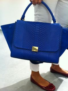 Celine trapeze in blue python