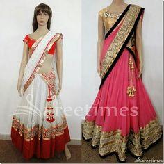 half saree more lehenga saree indian pakistani fashion ethnic fashions ...