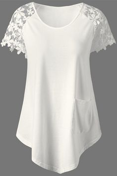 fall outfits:Lace Trim white T-Shirt