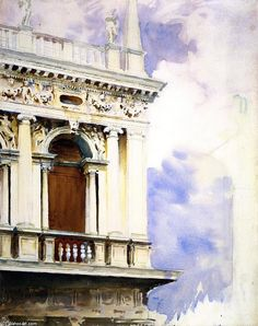 """""""The LIbrary, Venice"""", Watercolour by John Singer Sargent (1856-1925, Italy)"""