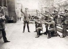 This photo takes place in Munich, Germany in 1919.  This photo was taken just before the execution of a communist.