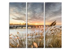 Tablou 3 piese Canvas By The Sea Jetty, cm Am Meer, Home Deco, Wind Turbine, Sea, Canvas, Products, Wall Canvas, Face, Tela