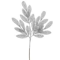 Vickerman 22-inch Glitter Mesh Bay Leaf Spray Pick