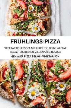 Dieser vegetarische Pizza Belag ist ein absoluter Hit. Fruchtig-herzhaft mit Erdbeeren, Rucola, Ziegenfrischkäse, Pinienkernen und Honig passt er wunderbar zum Frühling. Der Belag ist einfach zubereitet und eine super Idee für die ganze Familie - garantiert! Beef Pizza, Vegetarian Pizza, Pizza Recipe Mozzarella, Pizza Vegetariana, Pizza Recipe Video, Supreme Pizza, French Bread Pizza, Pizza Burgers, Goat Cheese