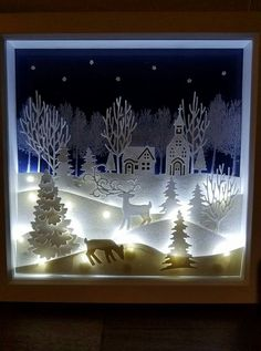 Paper Christmas Decorations, Christmas Paper Crafts, Homemade Christmas Cards, Christmas Projects, Holiday Crafts, Christmas Makes, Christmas Holidays, Christmas Shadow Boxes, Christmas Wonderland