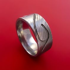 Damascus Steel Band with Wave Design Custom Made Ring