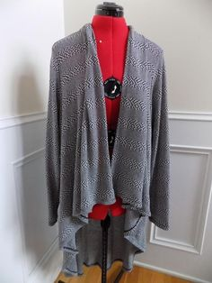 FREE SHIPPING! BUY IT NOW! Open Shawl Front Knit Jacket Lightweight Black and White CATO Plus Sz 22/24 2X  | eBay