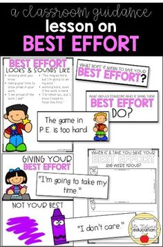 A classroom lesson on giving your best effort. Starts and leads the discussion on why it's important to always give your best Elementary School Counselor, School Counseling, Elementary Schools, Teaching Character, Character Education, Physical Education, Social Skills, Coping Skills, Social Work
