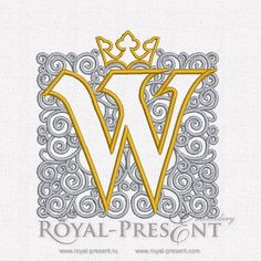 Machine Embroidery Design - Single letter W with crown, $2.75