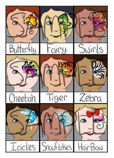 Gesichtsanstrich Menü - Blickfänge-Eye, halb oder partielle Gesicht Designs - Digital Download von PatchesTheClown