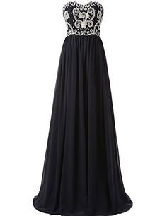 LucysProm Womens Prom Dresses Sweetheart Floor Length Chiffon Evening Dresses Size 6 US Dark Navy >>> Visit the image link more details.