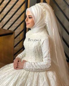✔ Fashion Dresses Plus Size Wedding Gowns Bridal Hijab, Muslim Wedding Dresses, Wedding Hijab, Bridal Dresses, Dress Wedding, Hijab Style Dress, Dress Outfits, Fashion Dresses, Modest Dresses