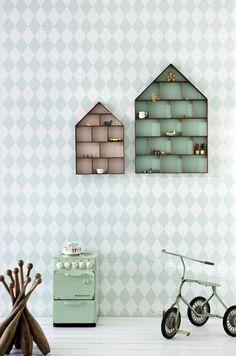 pastel harlequin wallpaper + the little dorm cases for kids room, from Ferm Living Dorm Shelves, House Shelves, Dorm Storage, Display Shelves, House Wall, Display Boxes, Display Case, Shelving, Cubby Shelves