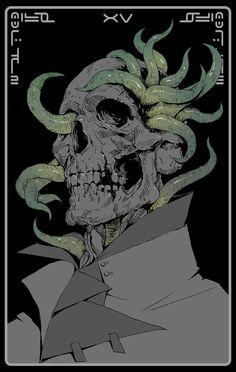 XV The Devil – tarot card concept by Ching Yeh Cthulhu, Arte Horror, Horror Art, Dark Fantasy Art, Dark Art, Character Art, Character Design, Arte Cyberpunk, Desenho Tattoo