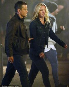 Getting serious: Matt Damon and Julia Stiles were spotted during a night time shoot for the as yet untitled fifth film in the Bourne franchise in Spain on Wednesday