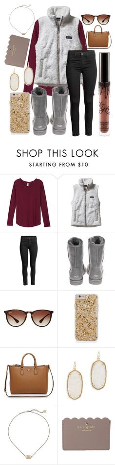 """It's the most wonderful time of the year❤️"" by jadenriley21 ❤ liked on Polyvore featuring Patagonia, UGG Australia, Ray-Ban, Tory Burch, Kendra Scott and Kate Spade"