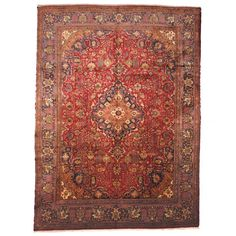 Herat Oriental Semi-antique 1960's Persian Hand-knotted Tabriz Red/ Navy Wool Rug (9'7 x 13') $2362 - Overstock™ Shopping - Great Deals on Herat Oriental 7x9 - 10x14 Rugs