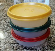 3 Tupperware Little Wonder Containers #1286 With Lids